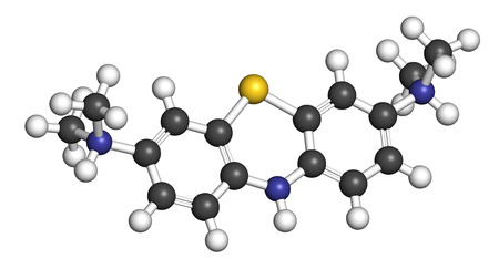 Leuko-Methylthioninium (LMTX) de ziekte van Alzheimer molecule (tau aggregatie remmer). 3D-rendering. Atomen worden voorgesteld als bollen met conventionele kleurcodering: waterstof (wit), koolstof (grijs), stikstof (blauw), zwavel (geel).