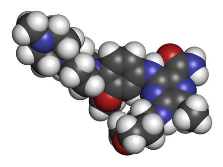 Gilteritinib cancer drug molecule (kinase inhibitor). 3D rendering. Atoms are represented as spheres with conventional color coding: hydrogen (white), carbon (grey), nitrogen (blue), oxygen (red).