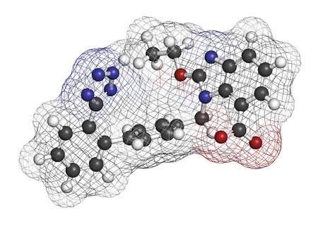 longevity medicine: Candesartan hypertension drug molecule. 3D rendering. Atoms are represented as spheres with conventional color coding: hydrogen (white), carbon (grey), nitrogen (blue), oxygen (red). Stock Photo