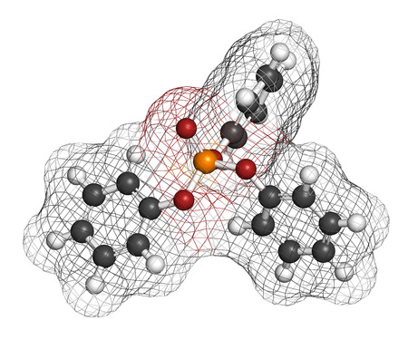 retardant: Triphenyl phosphate molecule. Used as flame retardant and plasticizer. 3D rendering. Atoms are represented as spheres with conventional color coding: hydrogen (white), carbon (grey), oxygen (red), phosphorus (orange). Stock Photo