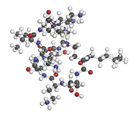 Colistin antibiotic drug molecule. 3D rendering. Atoms are represented as spheres with conventional color coding: hydrogen (white), carbon (grey), nitrogen (blue), oxygen (red).