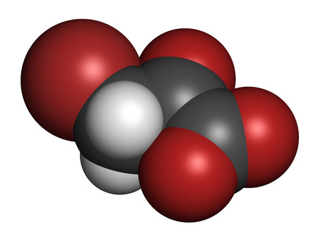 oncology: Bromopyruvic acid (3-bromopyruvic acid, 3-bromopyruvate) controversial cancer drug molecule. Investigational oncology drug, currently used without supporting clinical trial data. 3D rendering. Atoms are represented as spheres with conventional color codin