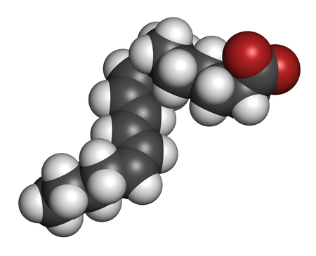 Punicic acid (trichosanic acid) molecule. Fatty acid present in pomegranate (Punica granatum). 3D rendering. Atoms are represented as spheres with conventional color coding: hydrogen (white), carbon (grey), oxygen (red). Stock Photo