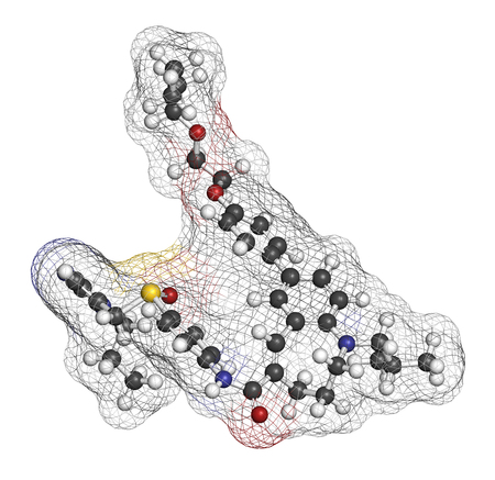 Cenicriviroc HIV drug molecule. 3D rendering. Atoms are represented as spheres with conventional color coding: hydrogen (white), carbon (grey), nitrogen (blue), oxygen (red), sulfur (yellow). Stock Photo