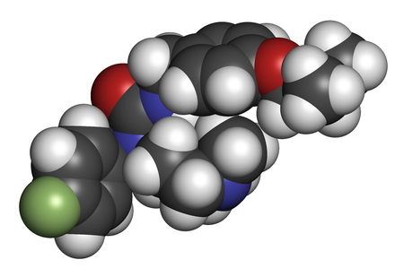 Pimavanserin atypical antipsychotic drug molecule. 3D rendering. Atoms are represented as spheres with conventional color coding: hydrogen (white), carbon (grey), nitrogen (blue), oxygen (red), fluorine (light green).