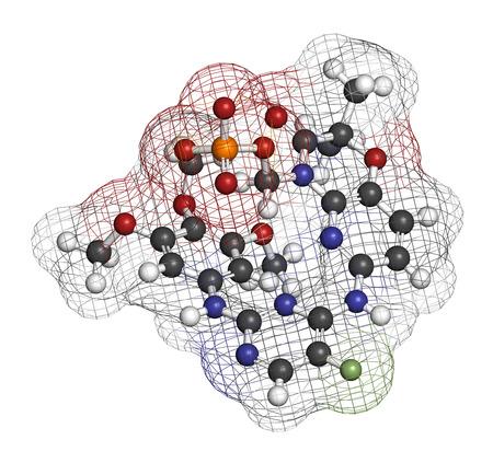 Fostamatinib rheumatoid arthritis drug molecule (Syk inhibitor). 3D rendering. Atoms are represented as spheres with conventional color coding: hydrogen (white), carbon (grey), nitrogen (blue), oxygen (red), fluorine (light green), phosphorus (orange).