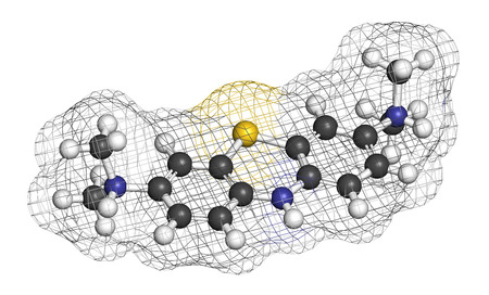 alzheimer's: Leuco-methylthioninium (LMTX) Alzheimers disease molecule (tau aggregation inhibitor). 3D rendering. Atoms are represented as spheres with conventional color coding: hydrogen (white), carbon (grey), nitrogen (blue), sulfur (yellow). Stock Photo