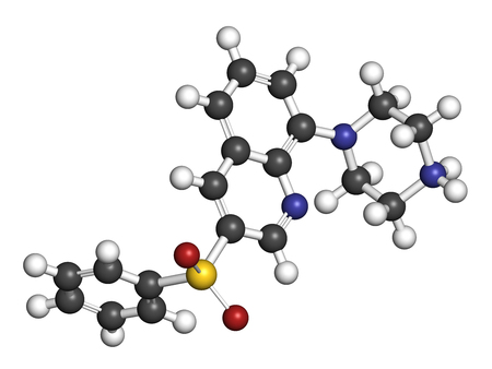 pharma: Intepirdine Alzheimers disease drug molecule. 3D rendering. Atoms are represented as spheres with conventional color coding: hydrogen (white), carbon (grey), nitrogen (blue), oxygen (red), sulfur (yellow).