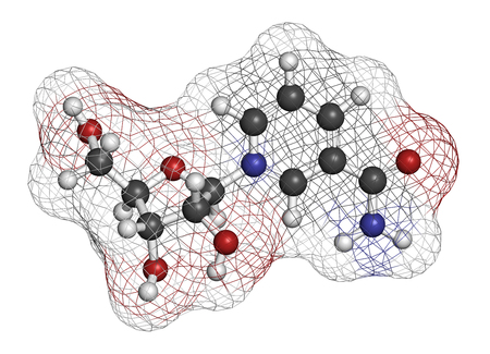 life extension: Nicotinamide riboside (NR) molecule. Precursor of nicotinamide adenine dinucleotide (NAD).  3D rendering. Atoms are represented as spheres with conventional color coding: hydrogen (white), carbon (grey), oxygen (red), nitrogen (blue).