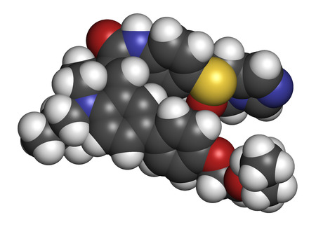 immunodeficiency: Cenicriviroc HIV drug molecule. 3D rendering. Atoms are represented as spheres with conventional color coding: hydrogen (white), carbon (grey), nitrogen (blue), oxygen (red), sulfur (yellow). Stock Photo