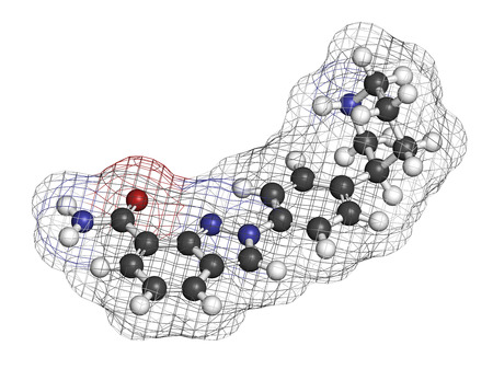 Niraparib cancer drug molecule (PARP inhibitor). 3D rendering. Atoms are represented as spheres with conventional color coding: hydrogen (white), carbon (grey), nitrogen (blue), oxygen (red).