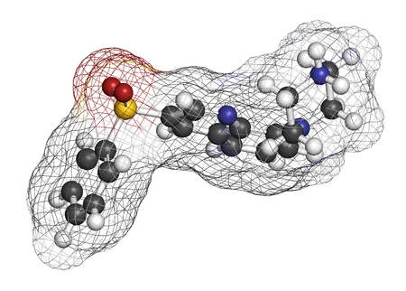 nitrogen: Intepirdine Alzheimers disease drug molecule. 3D rendering. Atoms are represented as spheres with conventional color coding: hydrogen (white), carbon (grey), nitrogen (blue), oxygen (red), sulfur (yellow).
