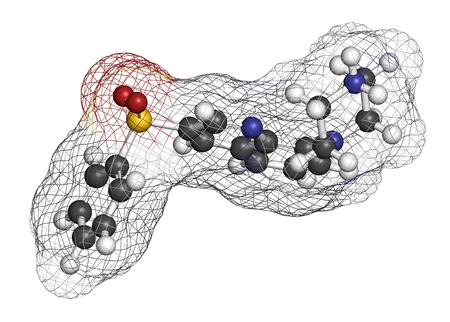 hidrógeno: molécula de la droga enfermedad de Alzheimer Intepirdine. representación 3D. Los átomos se representan como esferas con codificación de colores convencionales: hidrógeno (blanco), carbono (gris), nitrógeno (azul), oxígeno (rojo), azufre (amarillo).