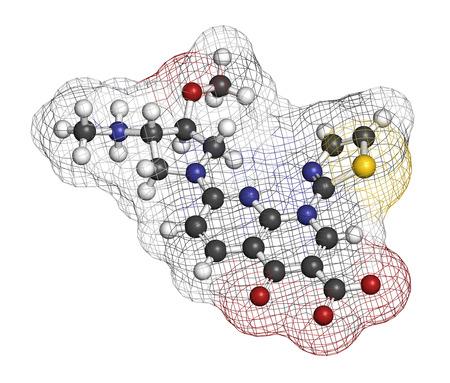 leucemia: molécula de medicamento contra el cáncer vosaroxin. representación 3D. Los átomos se representan como esferas con codificación de colores convencionales: hidrógeno (blanco), carbono (gris), nitrógeno (azul), oxígeno (rojo), azufre (amarillo).