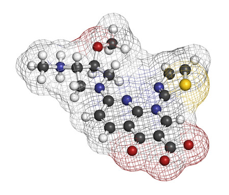 Vosaroxin cancer drug molecule. 3D rendering. Atoms are represented as spheres with conventional color coding: hydrogen (white), carbon (grey), nitrogen (blue), oxygen (red), sulfur (yellow).