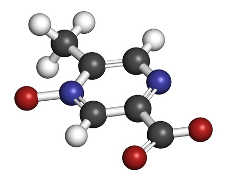 lipid: Acipimox hypertriglyceridemia drug molecule. 3D rendering. Atoms are represented as spheres with conventional color coding: hydrogen (white), carbon (grey), nitrogen (blue), oxygen (red). Stock Photo
