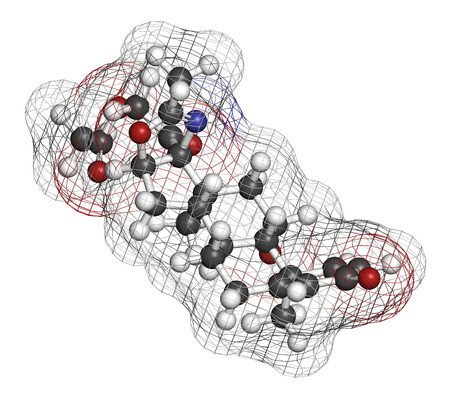 dystrophy: Deflazacort glucocorticoid drug molecule. 3D rendering. Atoms are represented as spheres with conventional color coding: hydrogen (white), carbon (grey), nitrogen (blue), oxygen (red).