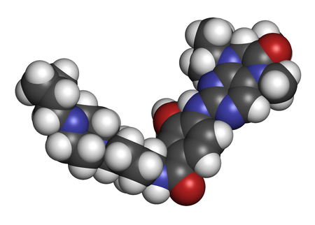Volasertib cancer drug molecule (PLK1 inhibitor). 3D rendering. Atoms are represented as spheres with conventional color coding: hydrogen (white), carbon (grey), nitrogen (blue), oxygen (red).