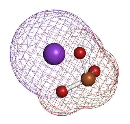 Potassium bromate (KBrO3, E924). Used as additive to flour in the baking of bread. 3D rendering. Atoms are represented as spheres with conventional color coding: oxygen (red), potassium (purple), bromine (brown). Stock Photo