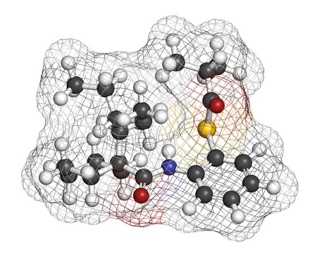 ester: Dalcetrapib hypercholesterolemia drug molecule. 3D rendering. Atoms are represented as spheres with conventional color coding: hydrogen (white), carbon (grey), nitrogen (blue), oxygen (red), sulfur (yellow).