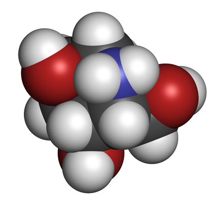 Migalastat Fabry disease drug molecule. 3D rendering. Atoms are represented as spheres with conventional color coding: hydrogen (white), carbon (grey), nitrogen (blue), oxygen (red). Stock Photo