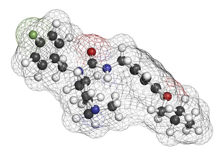 pharma: Pimavanserin atypical antipsychotic drug molecule. 3D rendering. Atoms are represented as spheres with conventional color coding: hydrogen (white), carbon (grey), nitrogen (blue), oxygen (red), fluorine (light green).
