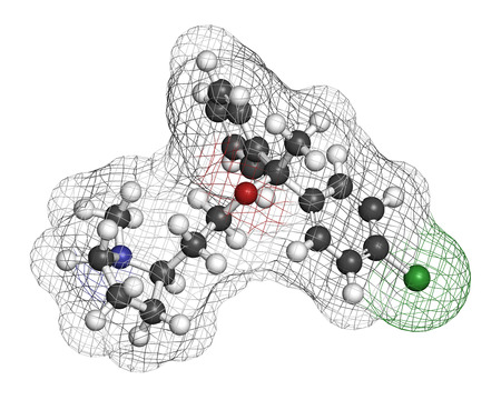 itching: Clemastine (meclastine) antihistamine drug molecule. Used to treat allergy and itching. 3D rendering. Atoms are represented as spheres with conventional color coding: hydrogen (white), carbon (grey), nitrogen (blue), oxygen (red), chlorine (green). Stock Photo