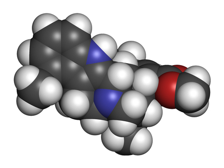 Mitragynine molecule. Herbal alkaloid present in kratom (ketum, Mitragyna speciosa). 3D rendering. Atoms are represented as spheres with conventional color coding: hydrogen (white), carbon (grey), oxygen (red), nitrogen (blue). Stock Photo
