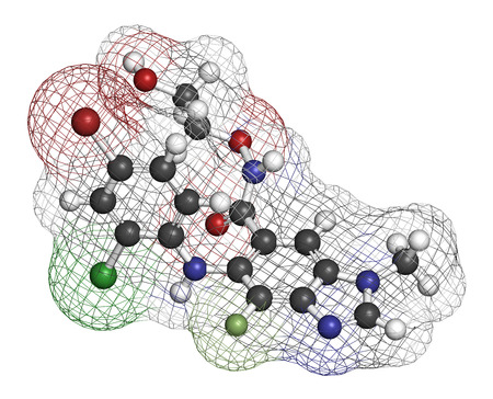 thyroid cancer: Selumetinib cancer drug molecule (MEK1 and MEK2 inhibitor). 3D rendering. Atoms are represented as spheres with conventional color coding: hydrogen (white), carbon (grey), nitrogen (blue), oxygen (red), bromine (brown), chlorine (green), fluorine (light g Stock Photo