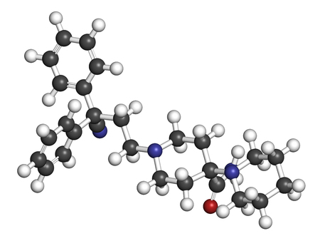 analgesia: Piritramide opioid analgetic drug molecule. 3D rendering. Atoms are represented as spheres with conventional color coding: hydrogen (white), carbon (grey), nitrogen (blue), oxygen (red).