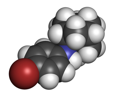 Bromantane asthenia drug molecule. Also used in sports doping. 3D rendering. Atoms are represented as spheres with conventional color coding: hydrogen (white), carbon (grey), bromine (brown), nitrogen (blue).