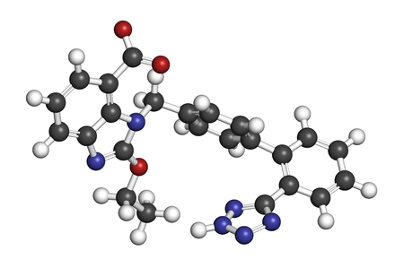 nitrogen: Candesartan hypertension drug molecule. 3D rendering. Atoms are represented as spheres with conventional color coding: hydrogen (white), carbon (grey), nitrogen (blue), oxygen (red). Stock Photo