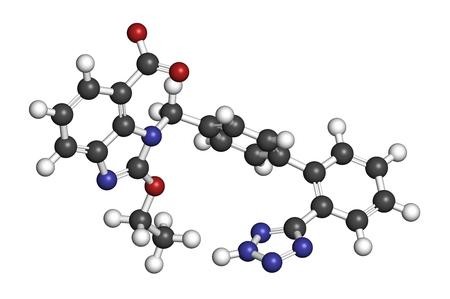hidrógeno: molécula de la droga hipertensión candesartán. representación 3D. Los átomos se representan como esferas con codificación de colores convencionales: hidrógeno (blanco), carbono (gris), nitrógeno (azul), oxígeno (rojo).