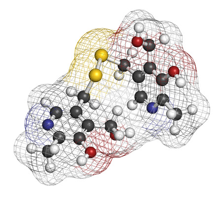Pyritinol (pyridoxine disulfide) cognitive and learning disorder drug molecule. Also used in nootropic dietary supplements. 3D rendering. Atoms are represented as spheres with conventional color coding: hydrogen (white), carbon (grey), oxygen (red), nitro