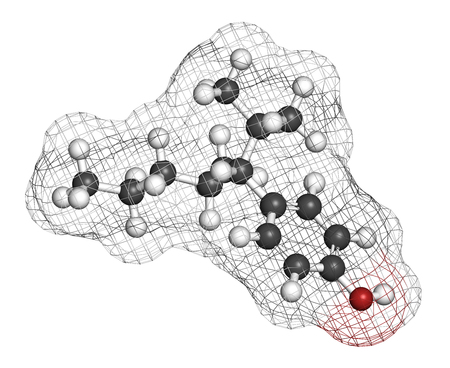 endocrine: Nonylphenol endocrine disruptor molecule (one isomer shown). 3D rendering. Atoms are represented as spheres with conventional color coding: hydrogen (white), carbon (grey), oxygen (red). Stock Photo