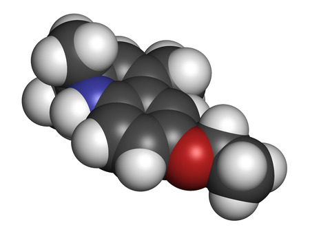 scald: Ethoxyquin antioxidant food preservative molecule. Also used to control scald on pears. 3D rendering. Atoms are represented as spheres with conventional color coding: hydrogen (white), carbon (grey), oxygen (red), nitrogen (blue).