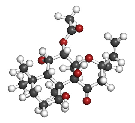 Forskolin (coleonol) molecule. Activates the enzyme adenylyl cyclase, resulting in increased levels of cAMP. 3D rendering. Atoms are represented as spheres with conventional color coding: hydrogen (white), carbon (grey), oxygen (red).