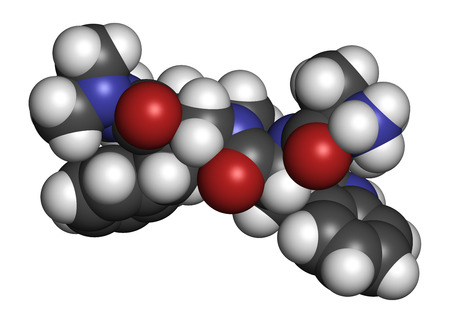 hormone: Anamorelin cancer cachexia and anorexia drug molecule. 3D rendering. Atoms are represented as spheres with conventional color coding: hydrogen (white), carbon (grey), nitrogen (blue), oxygen (red). Stock Photo
