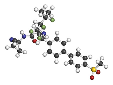 Odanacatib osteoporosis and bone metastasis drug molecule. Inhibitor of cathepsin K. 3D rendering. Atoms are represented as spheres with conventional color coding: hydrogen (white), carbon (grey), nitrogen (blue), oxygen (red), sulfur (yellow), fluorine (