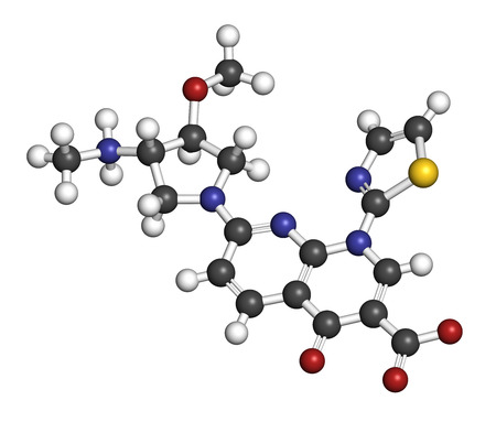 leukemia: Vosaroxin cancer drug molecule. 3D rendering. Atoms are represented as spheres with conventional color coding: hydrogen (white), carbon (grey), nitrogen (blue), oxygen (red), sulfur (yellow).