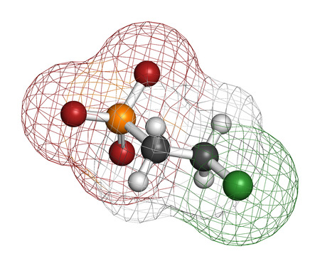 Ethephon plant growth regulator molecule. 3D rendering. Atoms are represented as spheres with conventional color coding: hydrogen (white), carbon (grey), oxygen (red), chlorine (green), phosphorus (orange). Stock Photo