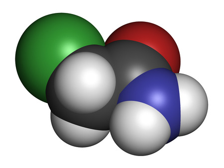 preservative: Chloroacetamide preservative molecule. 3D rendering. Atoms are represented as spheres with conventional color coding: hydrogen (white), carbon (grey), oxygen (red), nitrogen (blue), chlorine (green). Stock Photo