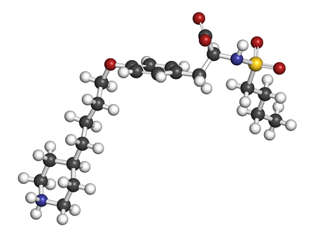 pharma: Tirofiban anticoagulant drug molecule. 3D rendering. Atoms are represented as spheres with conventional color coding: hydrogen (white), carbon (grey), nitrogen (blue), oxygen (red), sulfur (yellow). Stock Photo