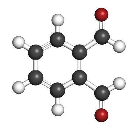 desinfectante: Ftalaldeh?do (ortoftalaldehído, OPA) molécula desinfectante. representación 3D. Los átomos se representan como esferas con codificación de colores convencionales: hidrógeno (blanco), carbono (gris), oxígeno (rojo).