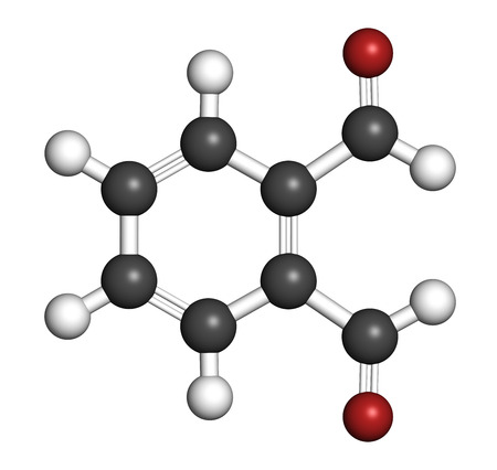 desinfectante: Phthalaldehyde (ortho-phthalaldehyde, OPA) disinfectant molecule.  3D rendering. Atoms are represented as spheres with conventional color coding: hydrogen (white), carbon (grey), oxygen (red).