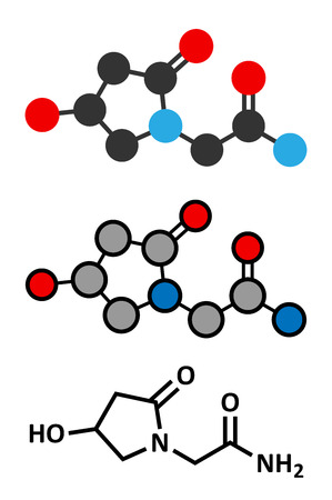 dietary: Oxiracetam nootropic drug molecule. Stylized 2D renderings and conventional skeletal formula.