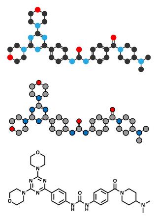 apoptosis: Gedatolisib cancer drug molecule. Stylized 2D renderings and conventional skeletal formula. Illustration