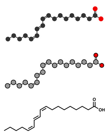 acido: Punicic acid (trichosanic acid) molecule. Stylized 2D renderings and conventional skeletal formula. Fatty acid present in pomegranate (Punica granatum).