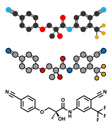 modulator: Enobosarm drug molecule. Stylized 2D renderings and conventional skeletal formula. Selective androgen receptor modulator (SARM) that is also used in sports doping.