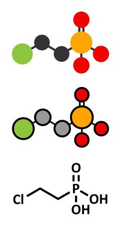 Ethephon Pflanzenwachstumsregulator-Molekül. Stilisierte 2D-Renderings und konventionelle Skelett-Formel.